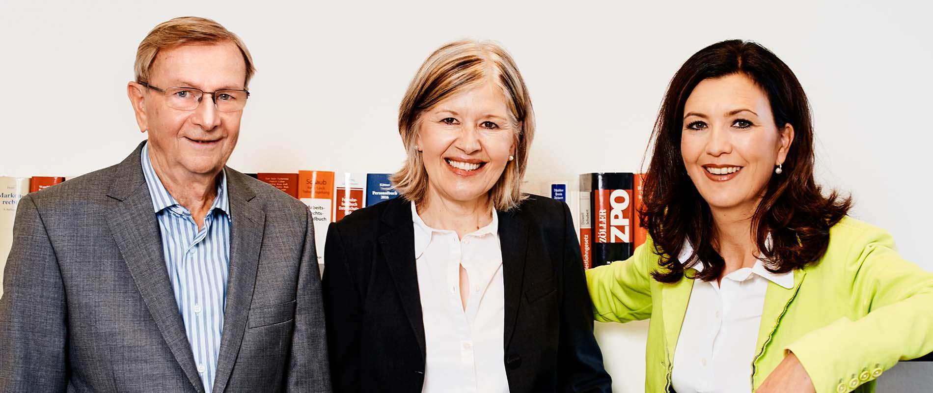 Portrait der Anwälte Werner Erbe, Diana Hopt-Bley, Marianne Hausherr