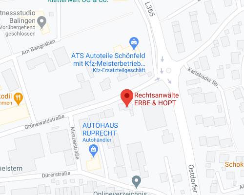 Erbe & Hopt Karte Anfahrt Balingen