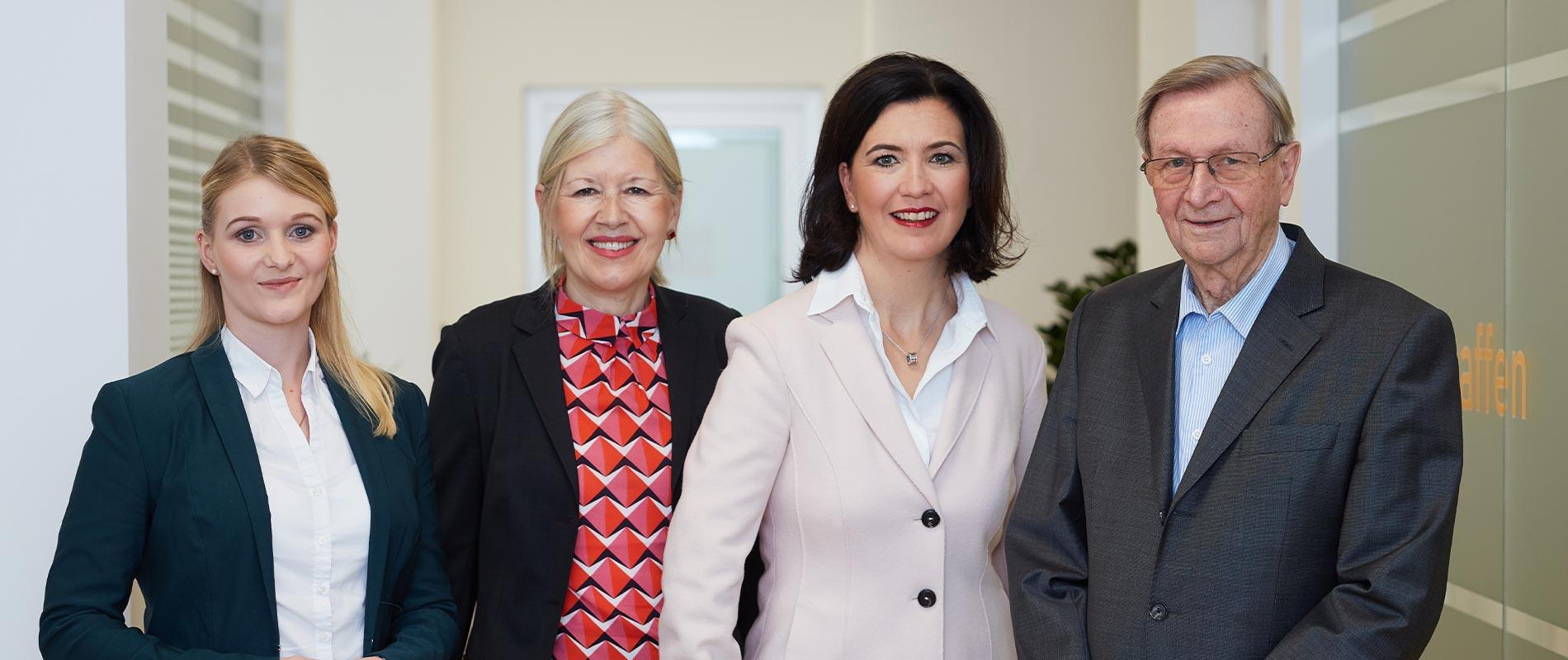 Portrait der Anwälte in Balingen: Eva Schneider, Marianne Hausherr, Diana Hopt-Bley und Werner Erbe